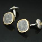 Gibeon Meteorite Cufflinks in 14kt White Gold & Sterling