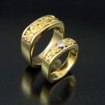 Matching Soft Square Natural Gold Wedding Band