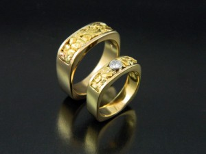 Matching Soft Square Natural Gold Wedding Band