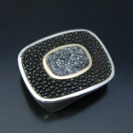 Stingray Coral and Sterling Silver Belt Buckle