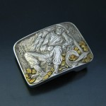 Sterling Silver with Natural Gold Nugget Miner Buckle