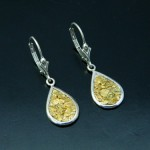 Sterling Silver with Natural Gold Nugget Earrings
