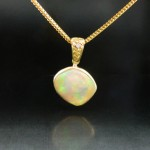 Opal and Natural Gold Nugget Pendant with 18k Chain