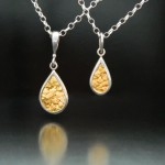 Sterling Silver and Natural Gold Nugget Pendants